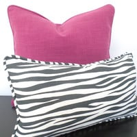 Animal print pillow case in 20x11, gray and white lumbar cover, zebra print cushion cover, small chair pillow with piping