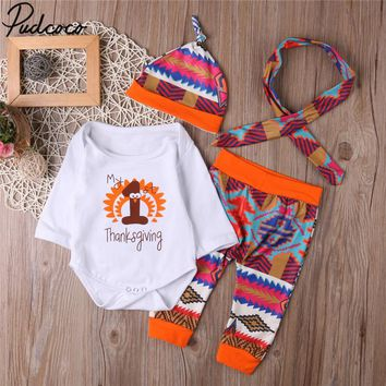 First Thanksgiving Clothes Set Newborn Infant Baby Boys Girl Long Sleeve Tops + Pants + Hat Headband 4PCS Outfits Set Clothes