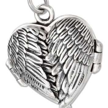 Angel Wings Heart Locket - Sterling Silver Pendant