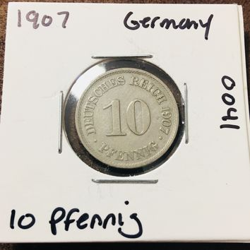 1907 German Empire 10 Pfennig Coin 0041