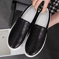 GUCCI Women Fashion Leather Slip-On Flats Shoes