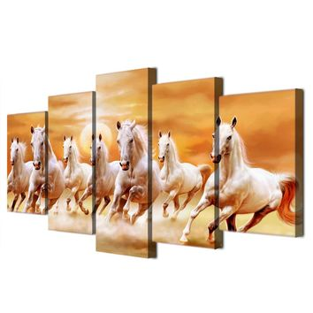 5 piece canvas art group white horses running galloping panel wall picture