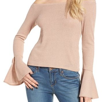 Mimi Chica Ribbed Off the Shoulder Top | Nordstrom