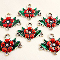 Red Jewelry Link, Flower Connectors, 6 Enamel Links, Chandelier Connector, Metal Jewelry Links, Jewelry Findings, Antique Silver Links