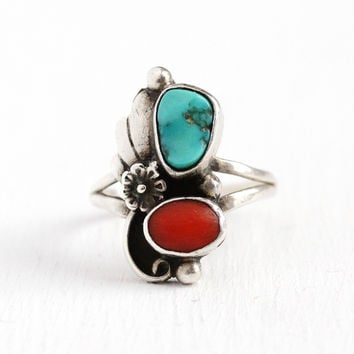 Vintage Silver Ring - 1970s Sterling Turquoise & Coral - Size 5 3/4 Retro Native American Tribal Southwestern Flower Leaf Nature Jewelry