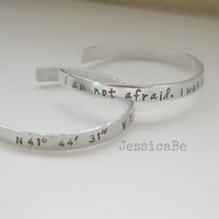 I Am Not Afraid Hand Stamped JOAN OF ARC Quote Cuff Bracelet