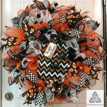 Halloween Chevron Pumpkin Orange Black White Ruffle Deco Mesh Wreath