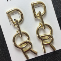 DIOR New Fashion Letter Earrings Accessories Women Golden