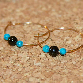 Turquoise and Black Onyx Beaded Hoop Earrings, Gold Hoop Earrings, Silver Hoop Earrings, Small Hoop Earrings, Birch Bark Design