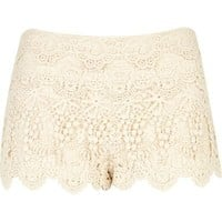 cream crochet lace shorts - casual shorts - shorts - women - River Island