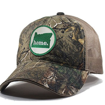 Homeland Tees Men's Oregon Home State Realtree Camo Trucker Hat - Green