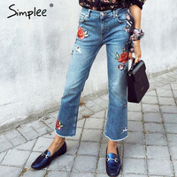 Simplee Vintage embroidery jeans female 2016 autumn winter Tassel fringe flare casual pants capris Pockets jeans women bottom