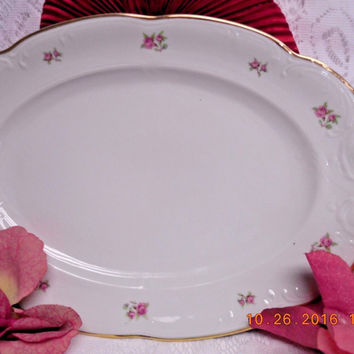 8259 by Walbrzych  China Small Roses, Embossed Edge, Gold Trim Serving platter