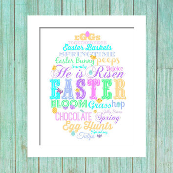 Easter Printable Decor - subway art Easter - pastel art wall art printable 8x10 dowload printable vintage wood eggs typography words