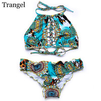 Trangel 2017 halter swimsuit women bikini sexy summer vintage print bikini set high neck bathing suit pattern bikini