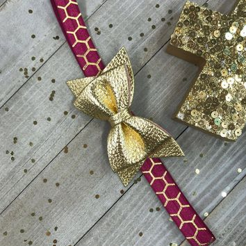 Wine Burgundy with Metallic Gold Lattice and Shiny Gold Faux Leather Bow Planner Band