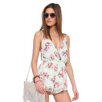 Deep V-neck Adjustable Strap Floral Romper