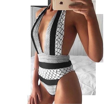 Sexy One Piece Swimsuit Trikini Swimwear Women Backless Monokini High Waist Bathing Suit Print Swimming Suit Deep V Biquini 2339
