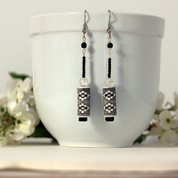 Black and White earrings, porcelain and seed beads dangle earrings tribal