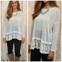Hide & Go Chic White Lace Trim Sheer Top