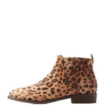 Classic Leopard Leopard Print Flat Chelsea Booties by Charlotte Russe