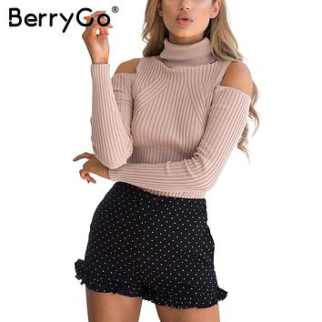 Turtleneck cold shoulders knit pullover sweater