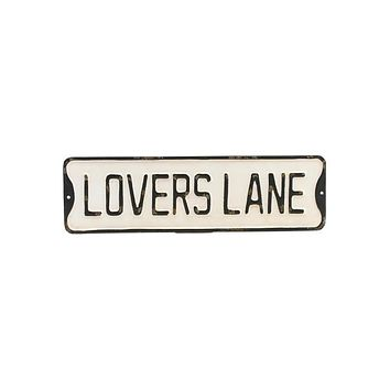 Lovers Lane - Embossed Metal Street Sign - 24-in
