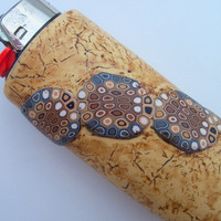 Cigarette Lighter Cover, Polymer Clay, tanned leather and snake design