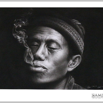 Unique Piece - Smoking Man, Charcoal & Pencil Drawing (Portrait) without frame
