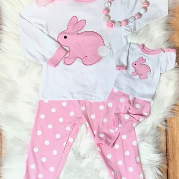 RTS Bunny PJs With Matching Doll Set