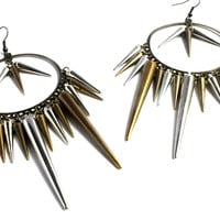 """Spikey"" Dark Gold Tone And Silver Earrings"