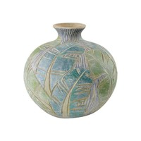 Pre-owned Vintage Art Pottery Vase with Incised Leaf Design