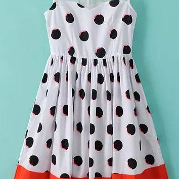 White Sheer Mesh Sleeveless Polka Dot Flare Dress with Red Hemline