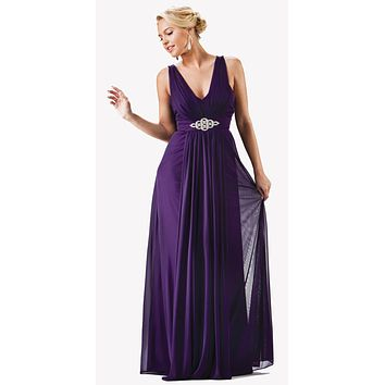 Chiffon Semi Formal Eggplant Dress Long Empire Rhinestone Waist