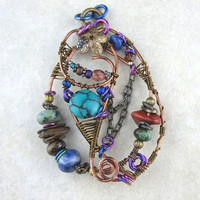 Hand crafted Wire Wrapped Antiqued Brass Copper Multi Color Stone Pendant