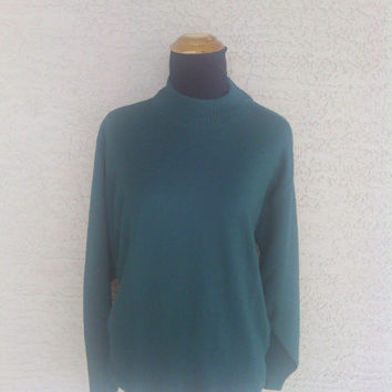 Pendleton green sweater pure virgin wool large classic slouchy boyfriend boho sweater 80s vintage