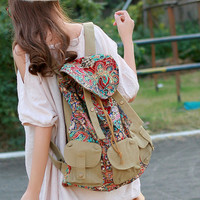 Vintage Ethnic Canvas Traveler Backpack - B