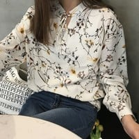 Buy Windflower Floral Print Long Sleeve Chiffon Blouse | YesStyle