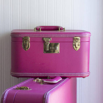 Vintage Luggage, Hot Pink Suitcase, Fuschia Train Case, Combo Lock Set, Ladies Womens Travel Bags, Hard Cases