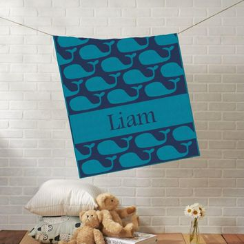Knit Baby Blanket | Blue Baby Whale | Custom Name Stroller Blanket | Boy or Girl | 100% Cashwool