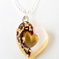 chocolate heart donut necklace