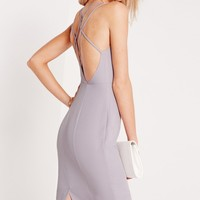Missguided - Strappy Side Split Midi Dress Grey