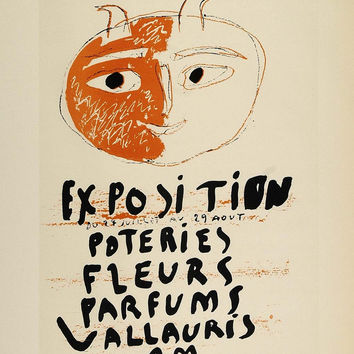 1959 Lithograph Picasso Poster Art Face Abstract Modern Vallauris Mourlot Freres
