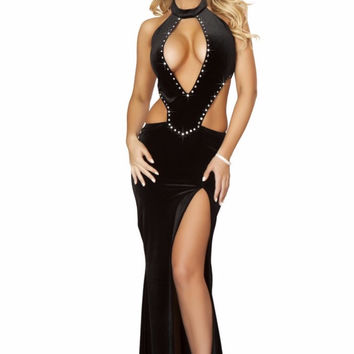 Black Gown with rhinestone detail and front slit