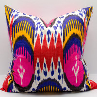 20x20 inches ikat pillow cover, pink ikat cushion, bright pink blue yellow red multicolor ikat coussin kissenbezug yastik