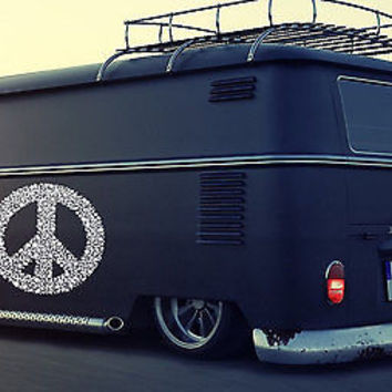 Flowered Peace Sign Hippie Woodstock Joy Car vinyl graphics Sticker tr072