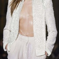 White Beaded Sequins Cocktail Jacket