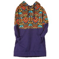 MapleClan Vintage The Aztec Fleece Velvet Hooded Sweatshirt