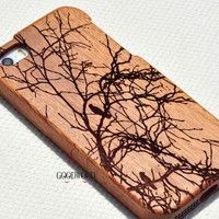 Bird on tree wood phone case,wood iPhone 5c Case, Wood iPhone 5c Cover,iPhone 5 case,iPhone 5/5s/5c/4s Cover,Gift,Floral phone covers