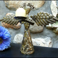 "Angel Design Metal Candle Holder - Haitian Steel Drum Art - 10"" x 12"""